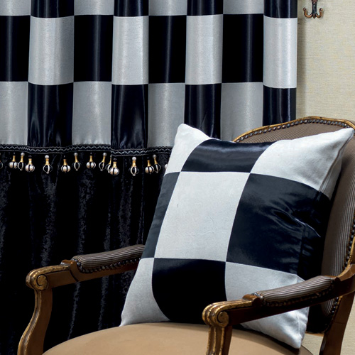 Wide-blackout curtains not) Chess (Black)