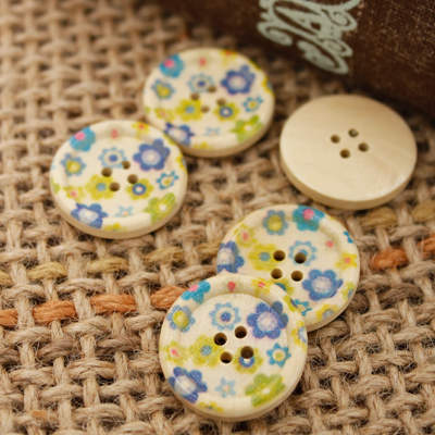 Wood 5ea- button) 24mm Natural Flower