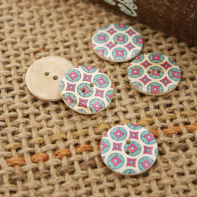Wood 5ea- button) 24mm Ethnic