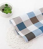 Cotton blend) simple check (Blue) [2902]