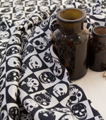 Satin) Black and White Skull