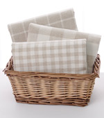 Dyed linen) beige checked three kinds