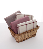 Linen dyed) Wine-based linen simple checks four kinds
