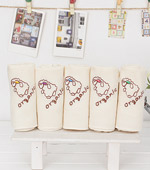 Organic embroidered handkerchief) easy five kinds of cotton
