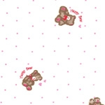 Cotton blend) Happy Bear (Ivory Pink) [1278]