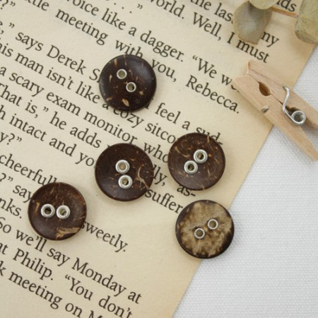 Wood 5ea- button) Eyelet Button Simple