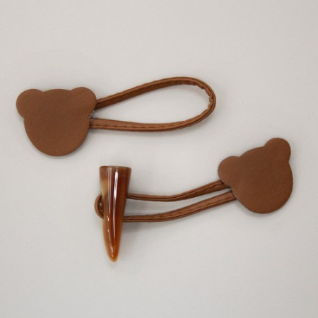 Horn button) bear shaped rice cake Button (Brown)