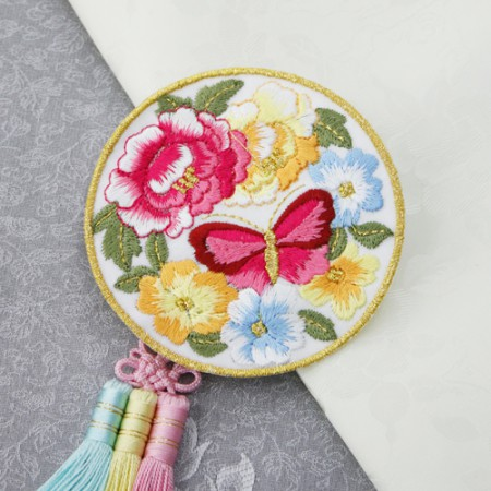 Hanbok embroidered round use) Butterfly Garden _White (2 species)