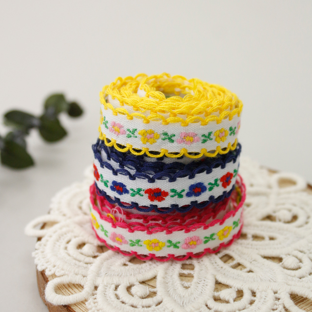 Embroidery Ribbon Decorative Ribbon Tape Flower Outing Mask Strap Making (3 types)
