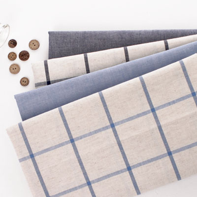 Dyed linen) Blue line linen four kinds of simple checks
