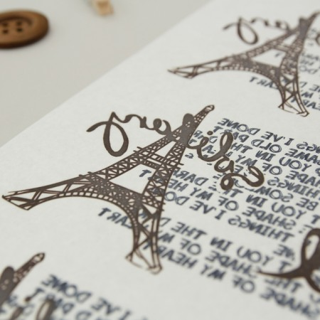 Paper transfer) Eiffel Top Lettering (Brown)