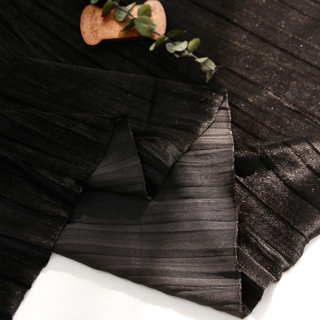 Velvet span fabric) Crease (Black) [1706]
