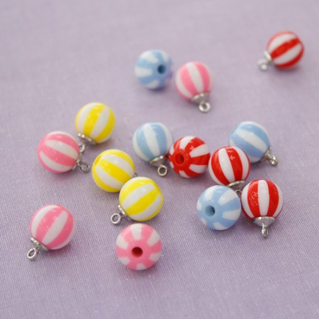 4 pieces) Stripe beads (4 kinds)