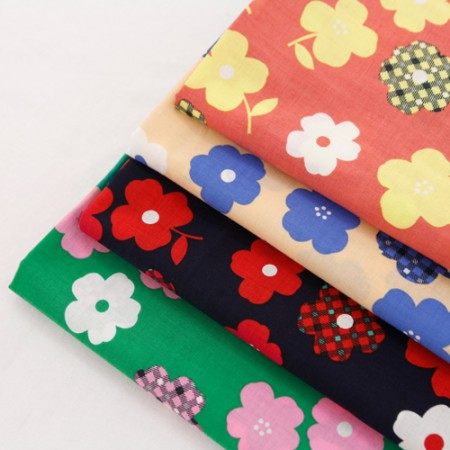 Large - asa fabric) Flower check (four kinds)