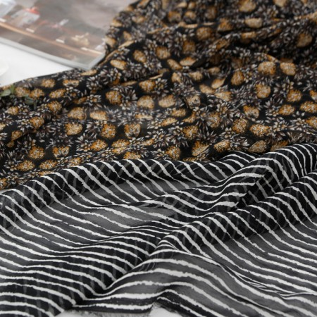 Large-chiffon printing fabric) Hawaiian black (two kinds)