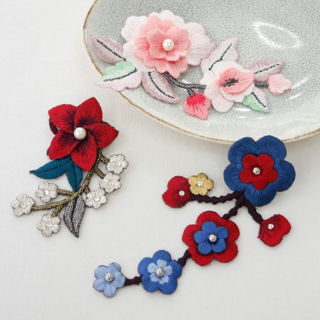 Hanbok Solitaire Brooch) Three-dimensional patch (three kinds)