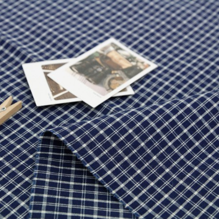 Large-dyed check fabric) Navy Check [A-285]