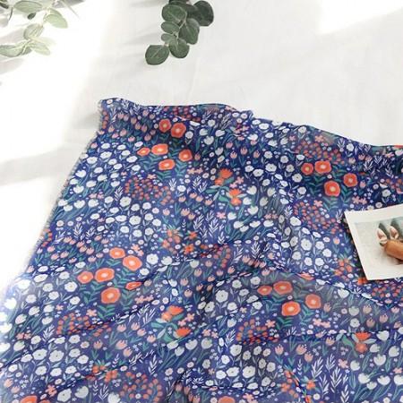 Large-chiffon fabric) Barefoot Garden (Navy) [081]