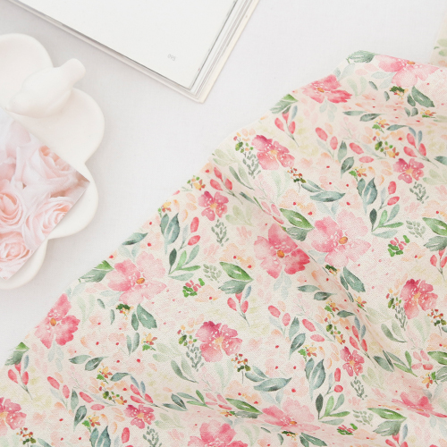 Large-linen fabric) Watercolor Spring flowers (2 kinds)