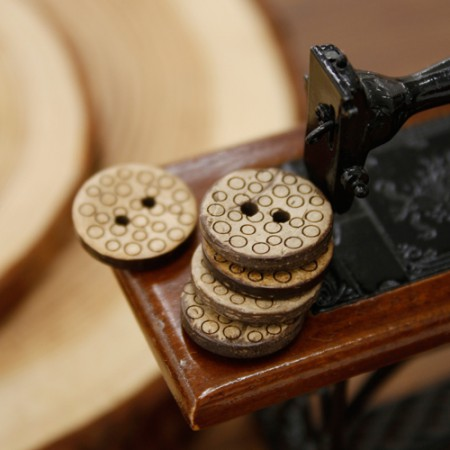 [5Piece] Wood Button) 15mmDot