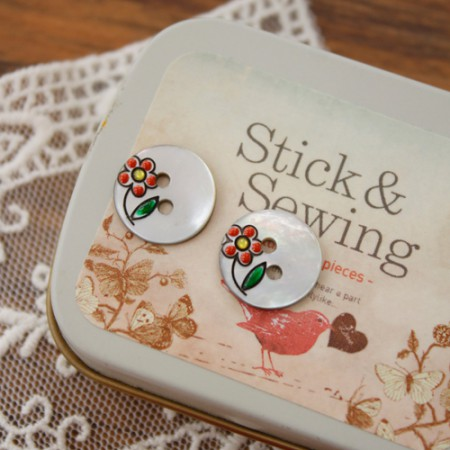 [2Piece] Piece Button) 13mm Flower Button