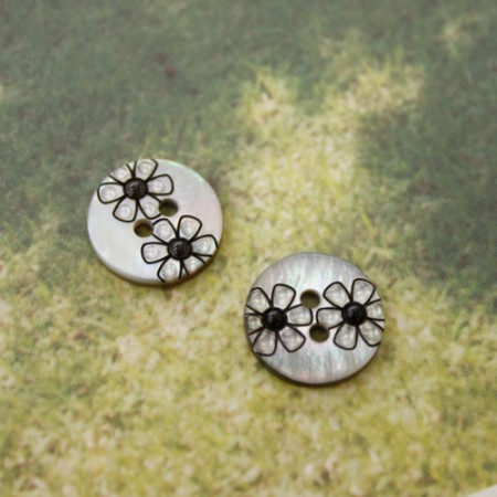 [2Piece] Piece Button) 13mm Modern Flower Button