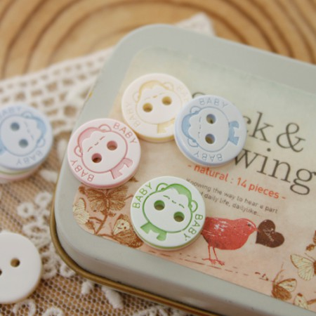 [5Piece] plastic button) 13mm Baby Monkey Button (4 kinds)
