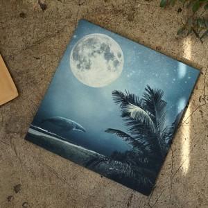 Classy linen cut paper) Blue wale