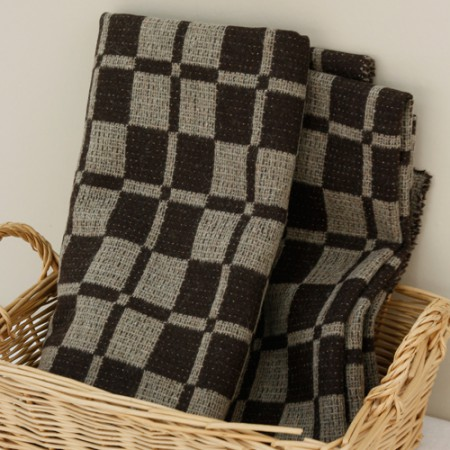 Large-wool blend fabric) Check Cocoa
