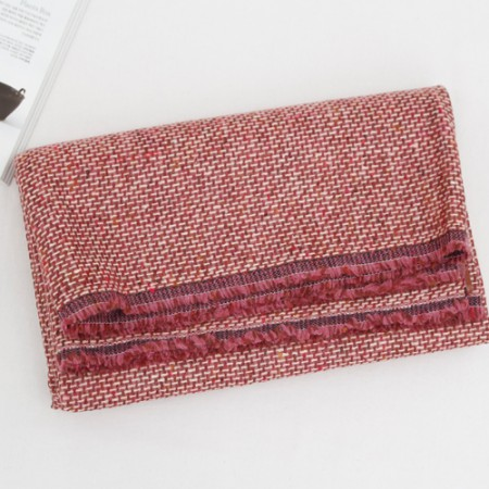 Largely-imported wool blend fabric) Pink wine