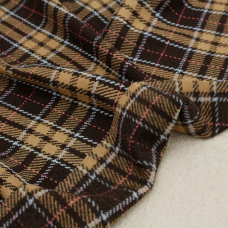 Large-wool blend fabric) Check brown