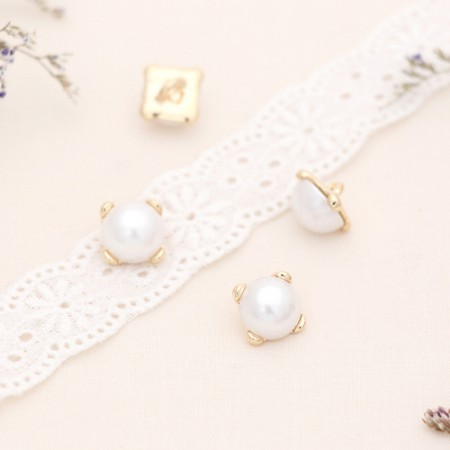 [4Piece] romantic pearl button _12mmGold