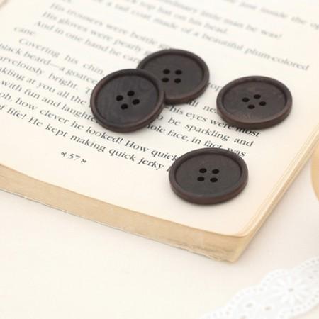 [4Piece] Modern French Button _25mmDark Brown
