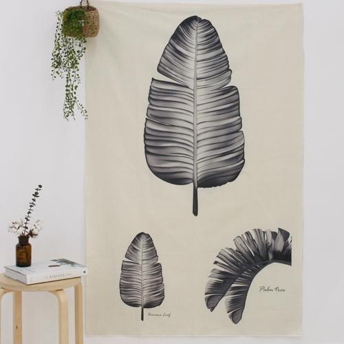 Linen cut paper) Botanical - Banana leaf black