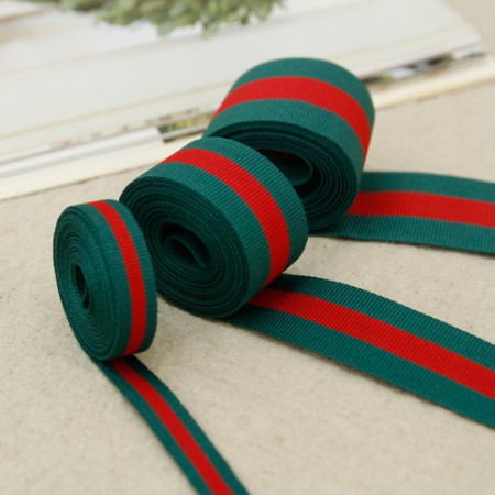 [3Hermp] striped tape) Green Red Ribbon (3size)