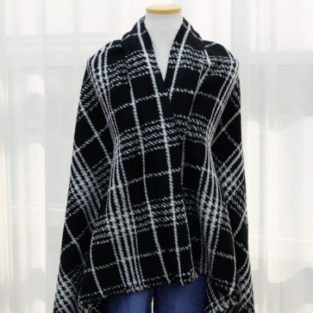 Large-wool fabric) Black large check