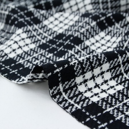 Acrylic wool fabric) Black & white check
