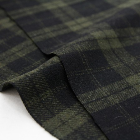 Large-wool fabric) Check Green (2 kinds)