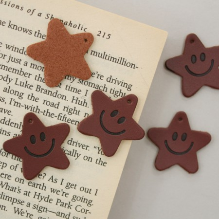 Leather label smile star (5 pieces) [20]