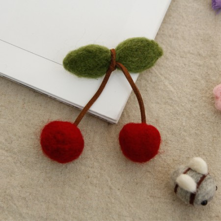 Semi-finished fleece decoration) Cherry