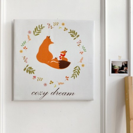 Classy linen cut paper) Fox family