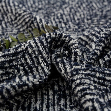 Large-wool blend fabric) Haringbone Blue