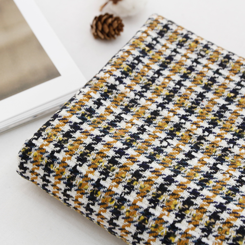 Large - woolen wool fabric) Gold check
