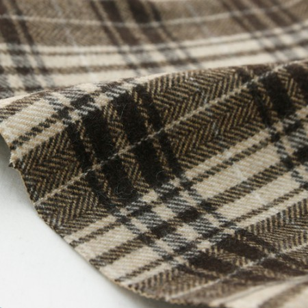 Large-wool fabric) Brown herringbone