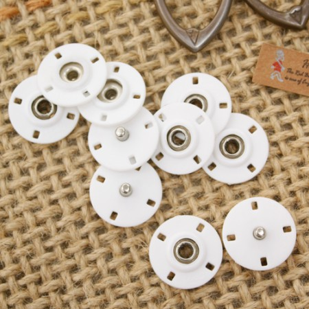 [C10] [5set] Handsawing snap button button 20mm_White
