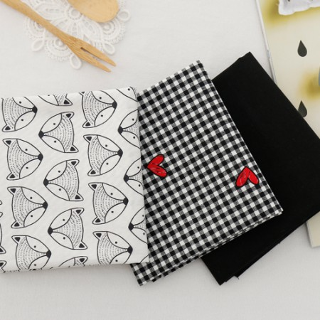 Cotton 20 Horizontal plain fabric) Black & Heart (3 kinds)