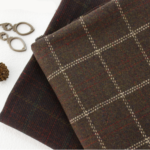 Large-wool acrylic) Brown check (two kinds)