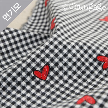 Cotton brushed microfiber fabric) Square heart