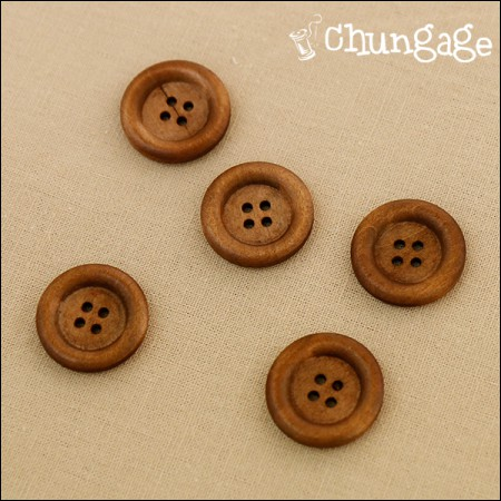 Wood Button 24mm Brown Button (5 pieces)