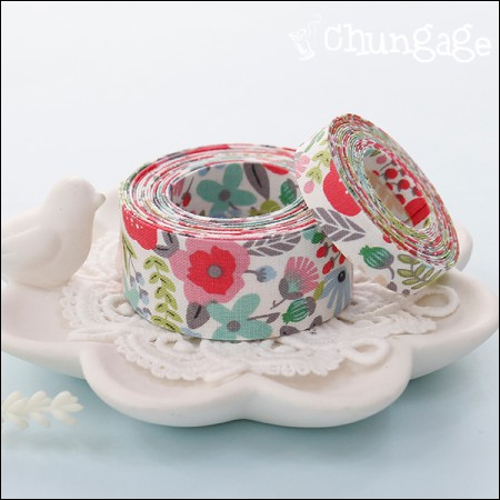 Cotton Fabric Ribbon Fabric Ribbon Tape Earl Gray Flower (3Hermp / 2 species)